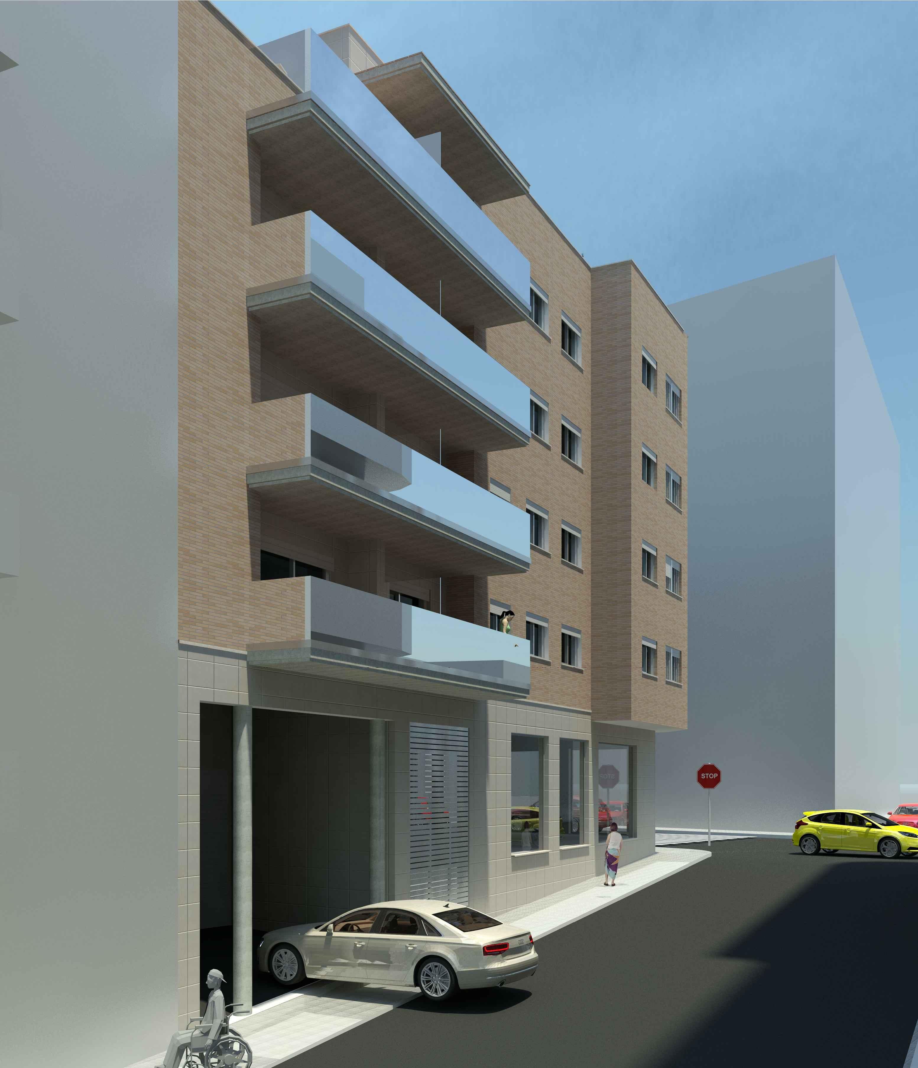 Fassade mit Balkonen Überbauung Torredembarra