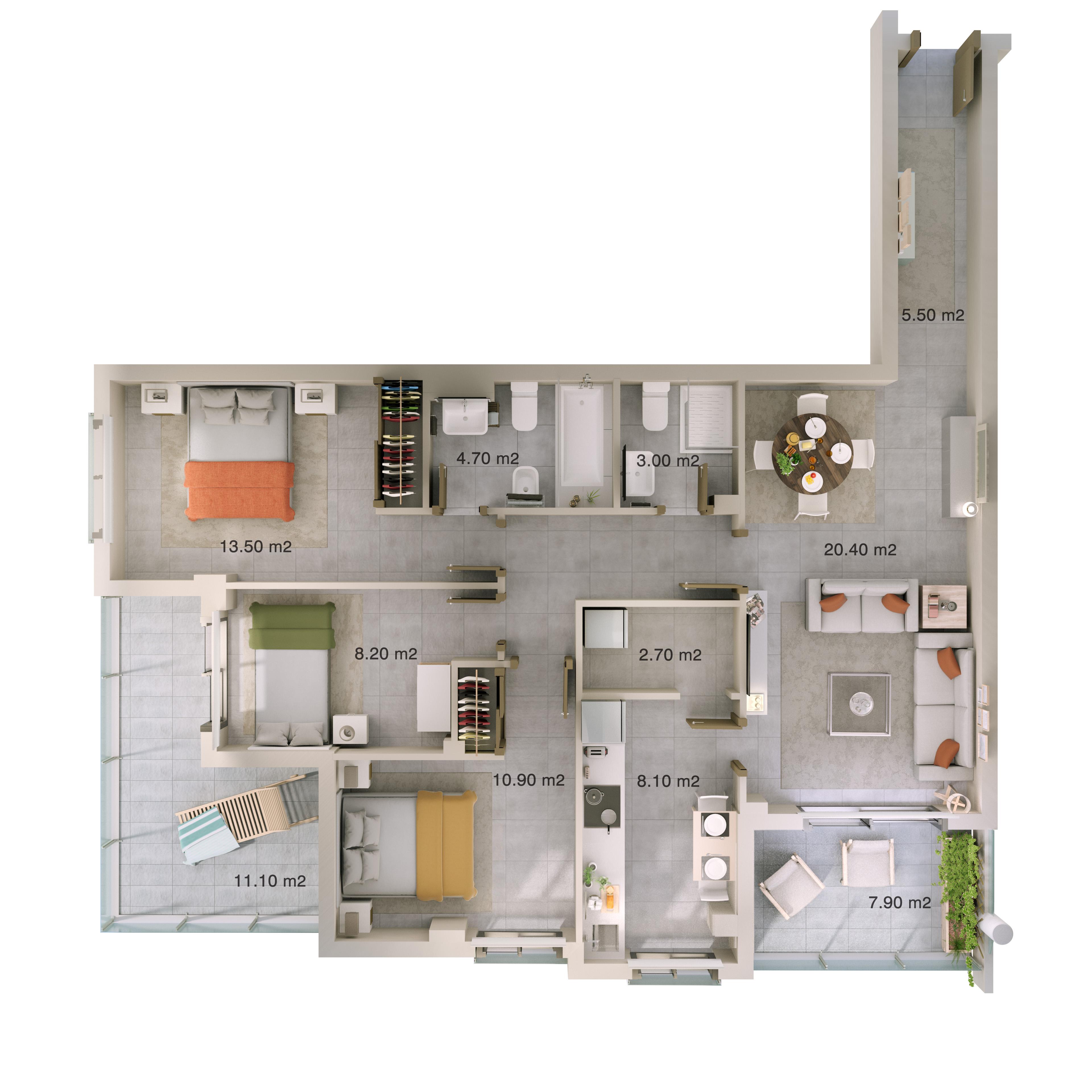 Plan 4-Zimmer-Wohnung mit m2