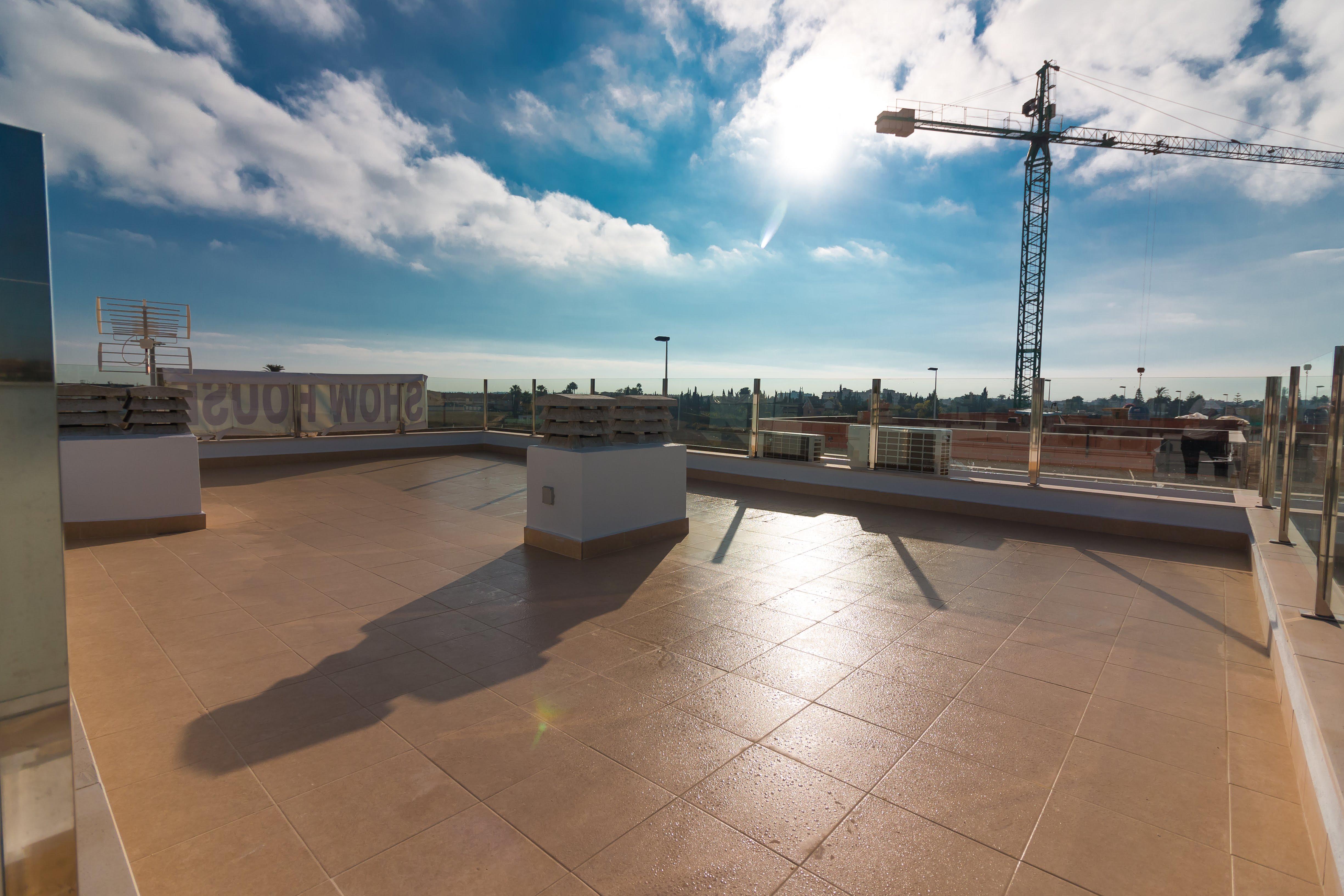Blick von oben von der Dachterrasse