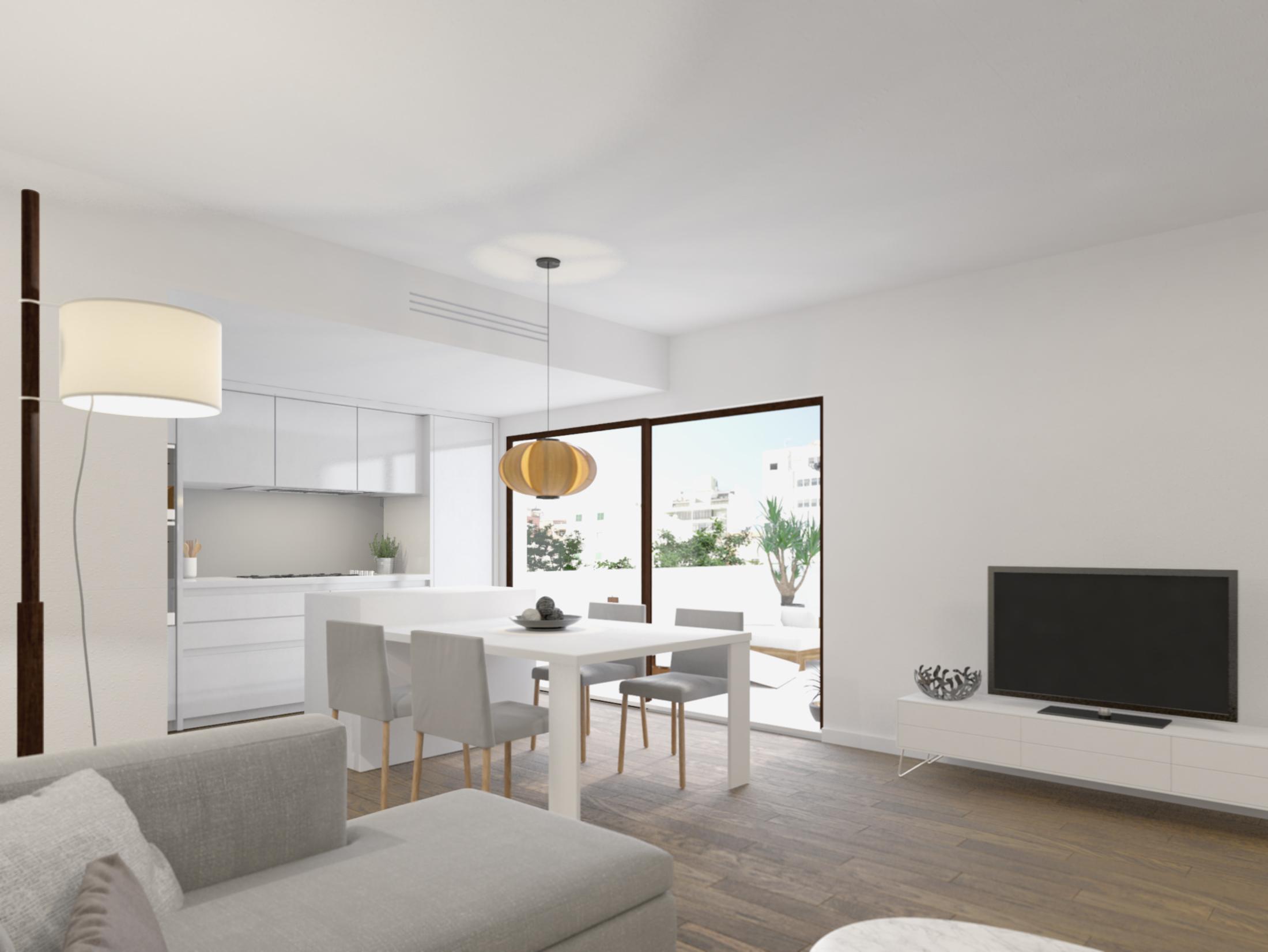 Wohnzimmer mit Essbereich Neubauprojekt Palma