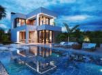 Villa mit Pool bei Nacht